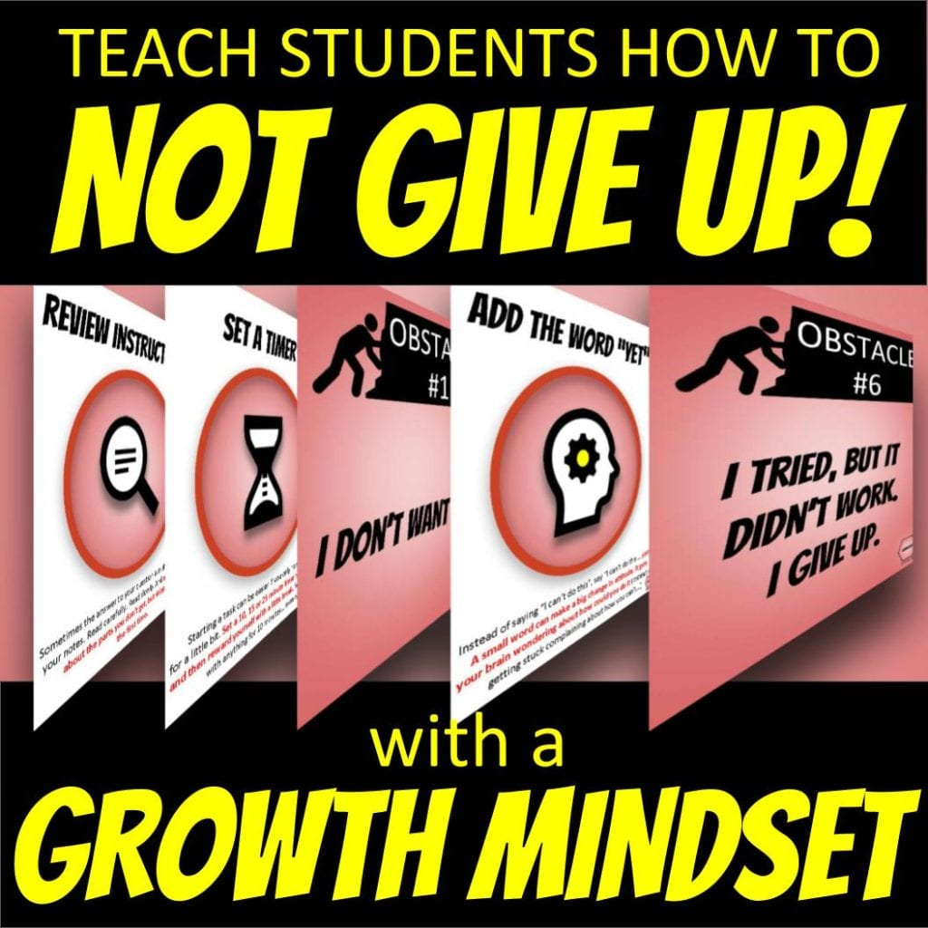 Slide asking educators to teach students HOW to not give up... with a growth mindset