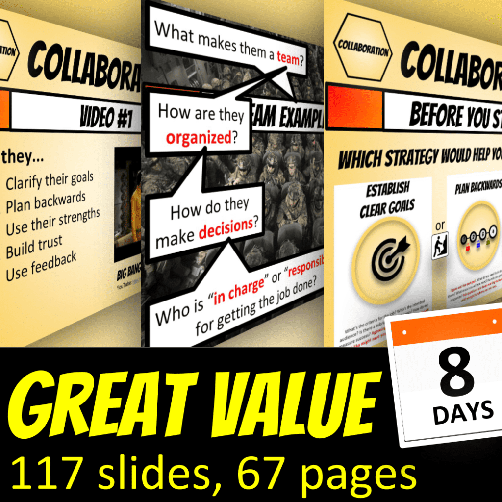 Great Value: 117 slides, 67 pges, 8 days of Collaboration Skill Lesson Plans