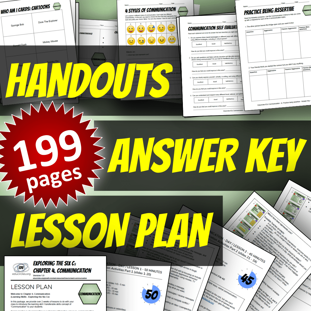 Screenshot of handouts, answer key, and communication lesson plans - 199 pages