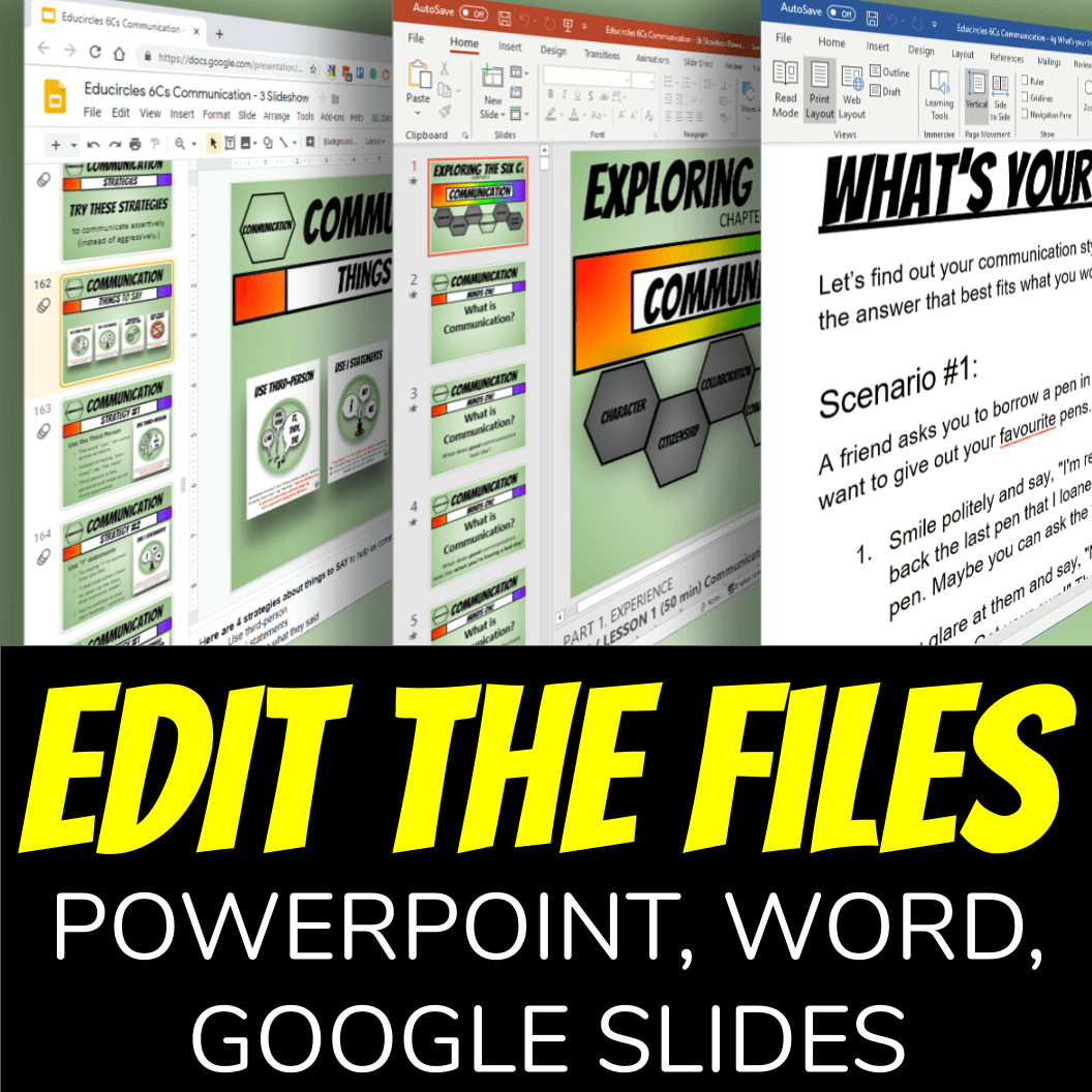 Screenshot of Microsoft Word, Microsoft PowerPoint, and Google Slide files of these communication lesson plans: Edit the files