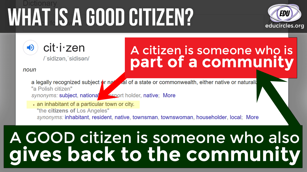 What is a Good Citizen? Screenshot of Citizen definition with notes on top: A citizen is someone who is part of a community. A good citizen is someone who also gives back to the community.