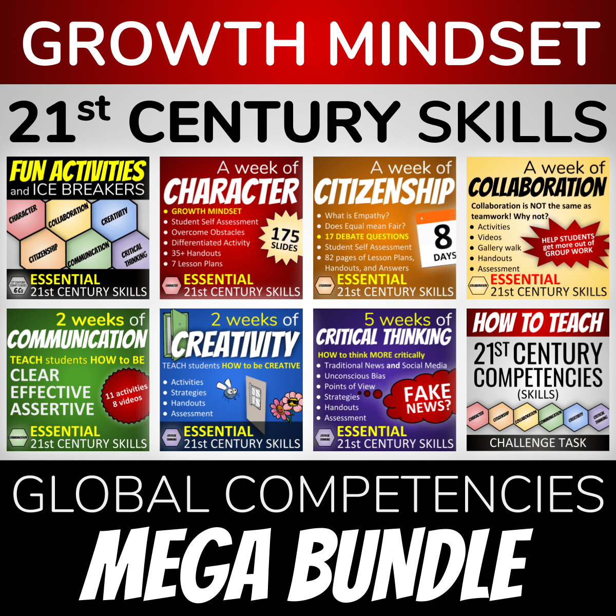 Growth Mindset 21st Century Skills - Global Competencies Mega Bundle with covers from all of our 6 Cs of Education lesson packages