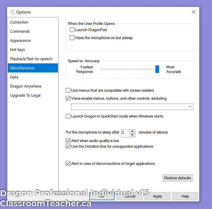 Dragon Professional Individual v15 - option - miscellaneous window lets you choose between speed and accuracy when transcribing (Screenshot for Dragon Home vs Profession 15 review)